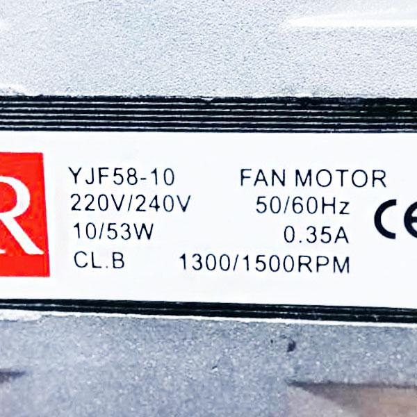 มอเตอร์ตู้แช่ BR ขนาด 10 วัตต์ โมเดล YJF58-10 แบบ 220V/240V (50/60Hz) แกนสั้น